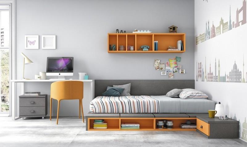 Dormitorios juveniles sin armario dormitorio con cama for Conjunto dormitorio juvenil