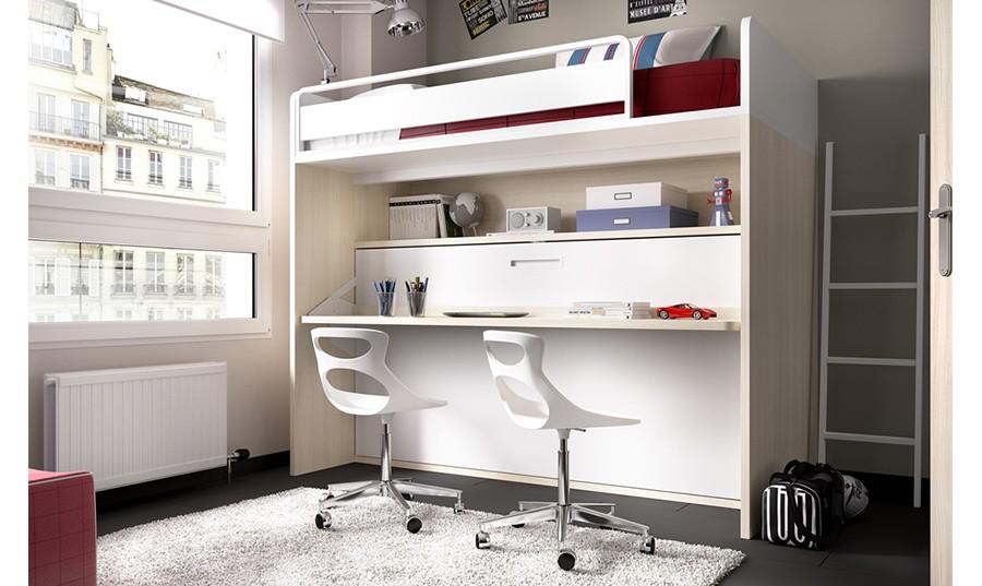 Juego dormitorio con escritori juvenil - Literas horizontales abatibles ...