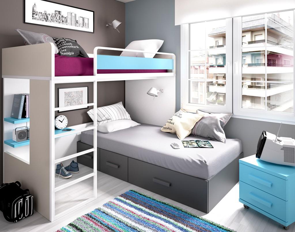 conjunto litera y cama inferior con cajones kross