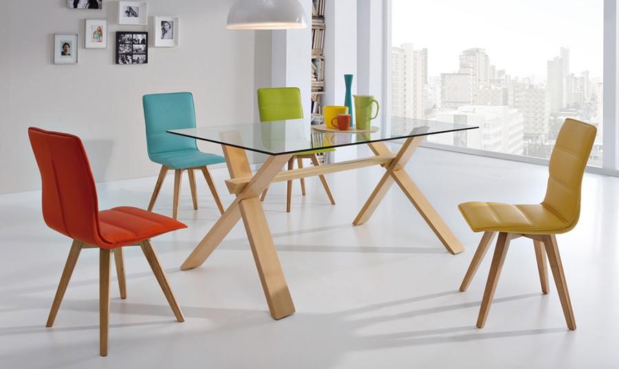 mesa de comedor fija de cristal dal