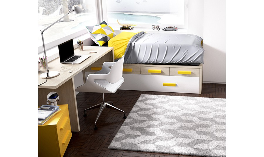 Cama con escritorio incorporado affordable cama con for Cama nido escritorio incorporado