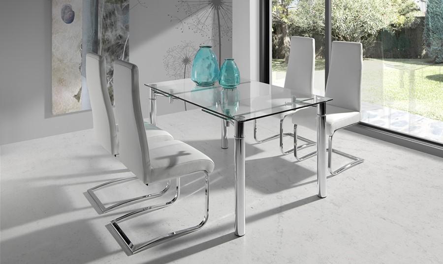 Mesas de comedor de cristal extensibles baratas casa for Decorar una mesa de comedor de cristal
