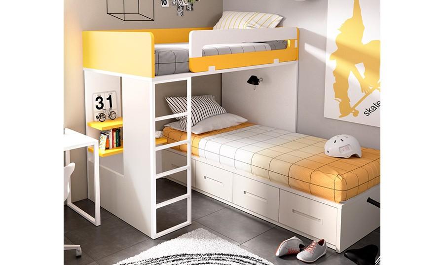 Litera cerrada con cama nido inferior - mobiprixcom