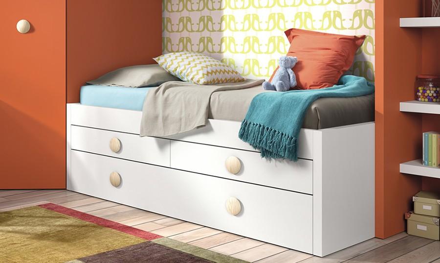 Camas blancas juveniles dormitorio juvenil con literas for Precios cama nido juvenil