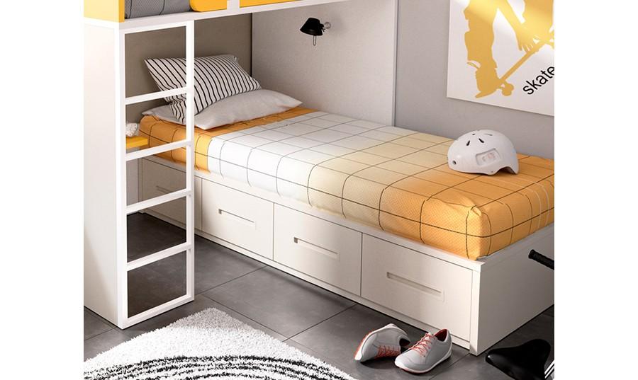 Camas blancas juveniles dormitorio juvenil con literas for Cama nido dormitorio juvenil